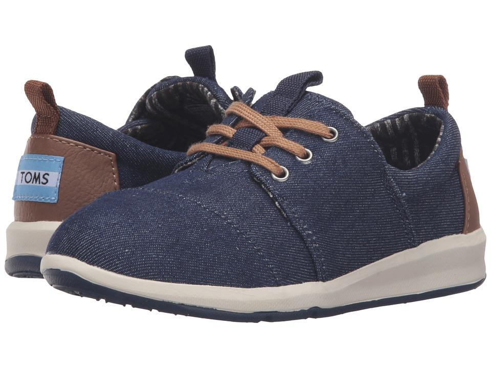 TOMS Kids - Del Rey Sneaker (Little Kid/Big Kid) (Blue Denim) Boys Shoes