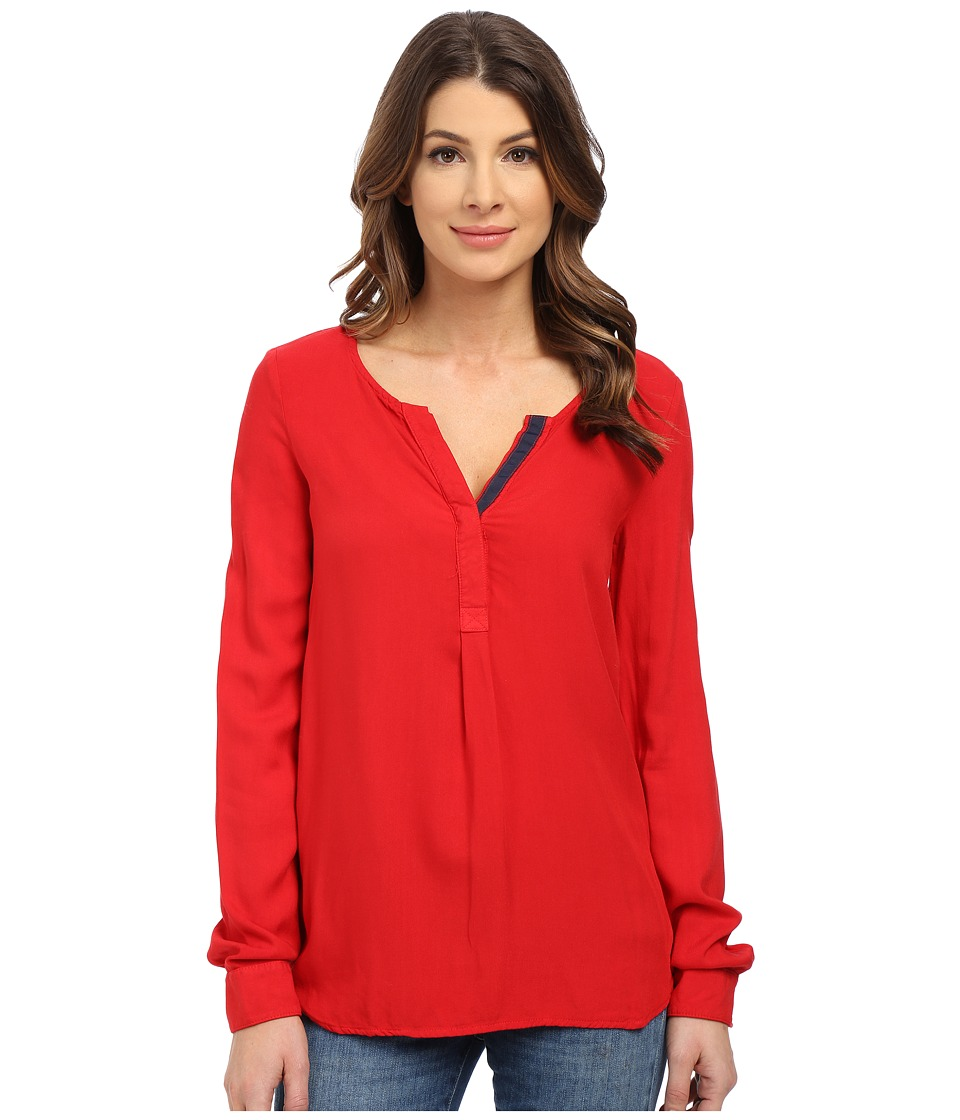 Three Dots - Sonia Contrast Henley (Wonder Red) Women's Clothing