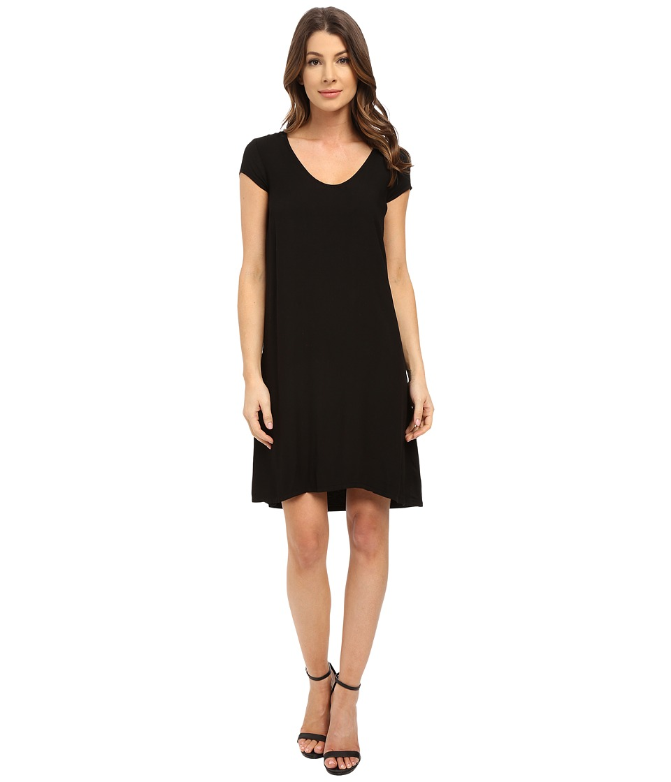 Three Dots Sally Cap Sleeve Dress (Black) Women
