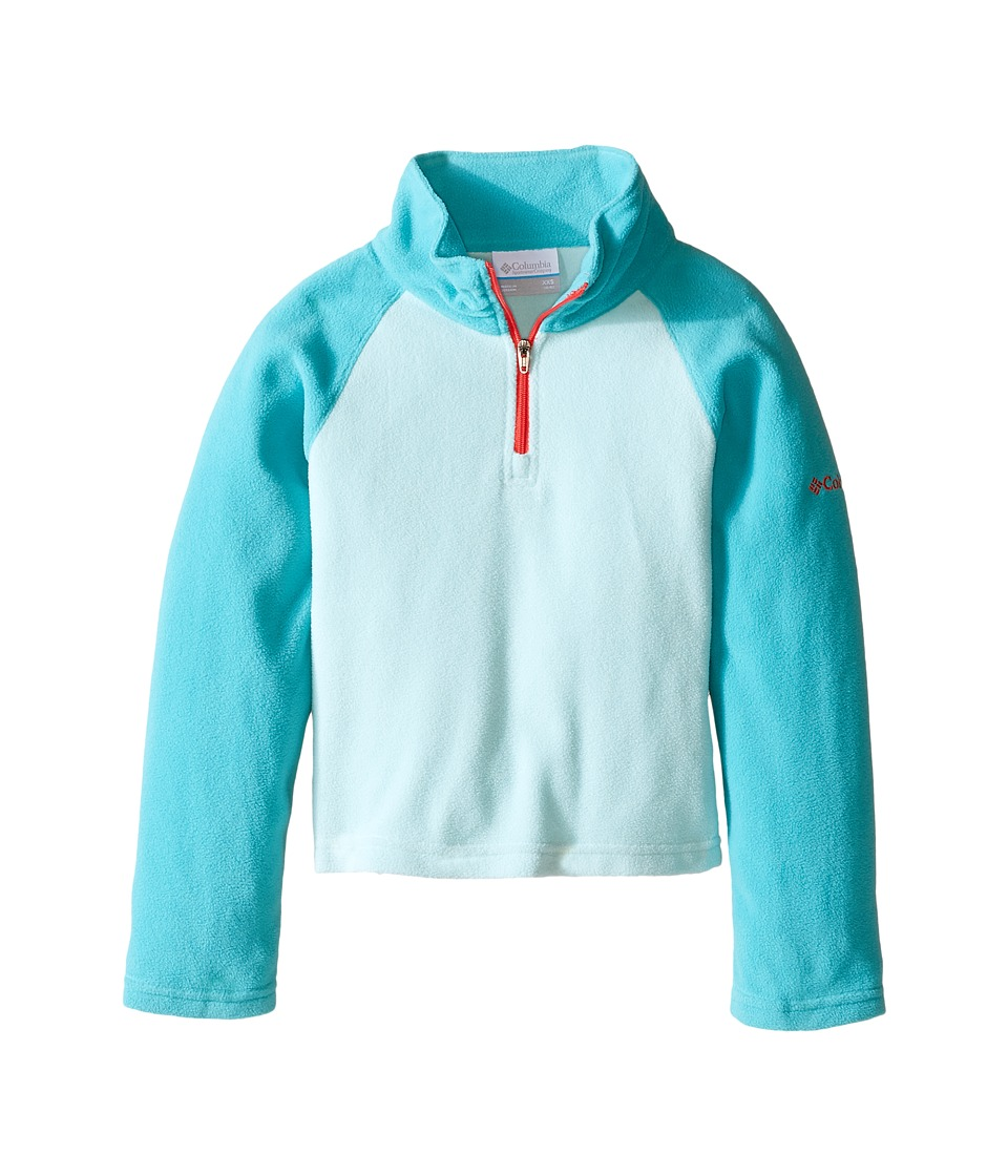 Columbia Kids - Glacial Fleece Half Zip (Little Kids/Big Kids) (Spray/Miami/Red Camellia Zipper) Girl's Fleece