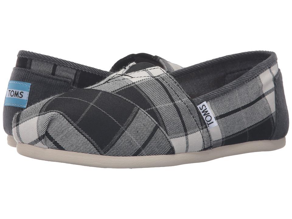 TOMS - Seasonal Classics (Black/White Plaid) Women's Slip on Shoes