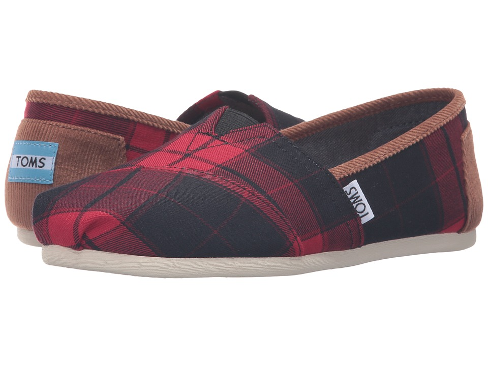 TOMS - Seasonal Classics (Red/Black Plaid) Women's Slip on Shoes