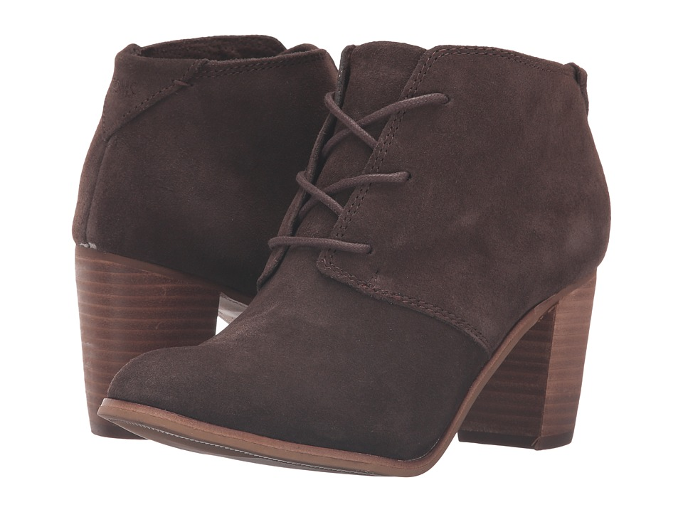 TOMS - Lunata Lace-Up Bootie (Chocolate Brown Suede) Women's Lace-up Boots