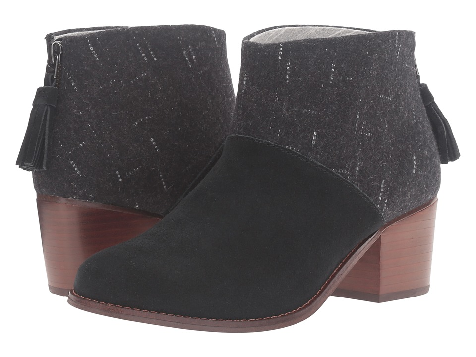 TOMS Leila Bootie (Black Suede/Dotted Wool) Women