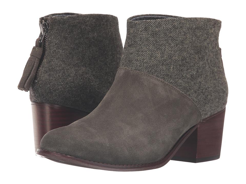 TOMS - Leila Bootie (Tarmac Olive Suede/Herringbone) Women's Zip Boots