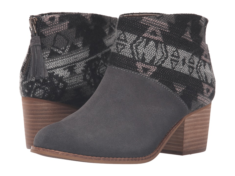 TOMS - Leila Bootie (Forged Iron Grey Suede/Tribal Wool) Women's Zip Boots