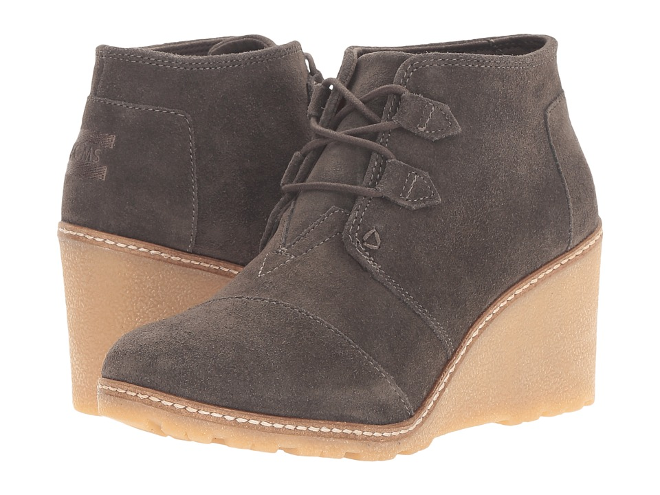 TOMS Desert Wedge (Tarmac Olive Suede/Faux Crepe Wedge) Women