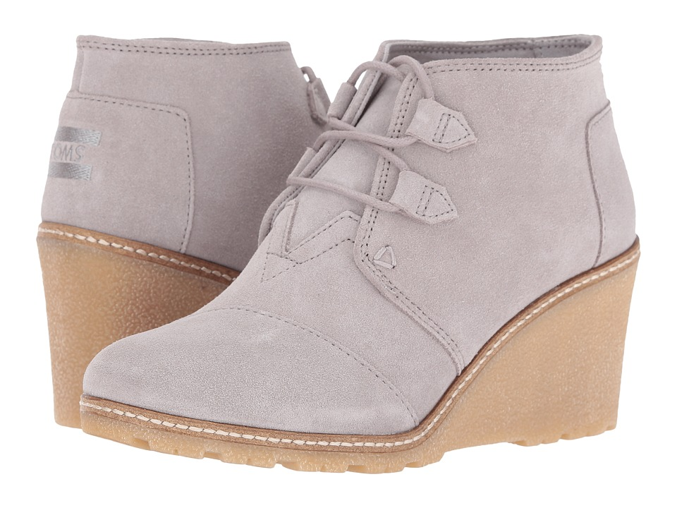 TOMS - Desert Wedge (Drizzle Grey Suede/Faux Crepe Wedge) Women's Wedge Shoes