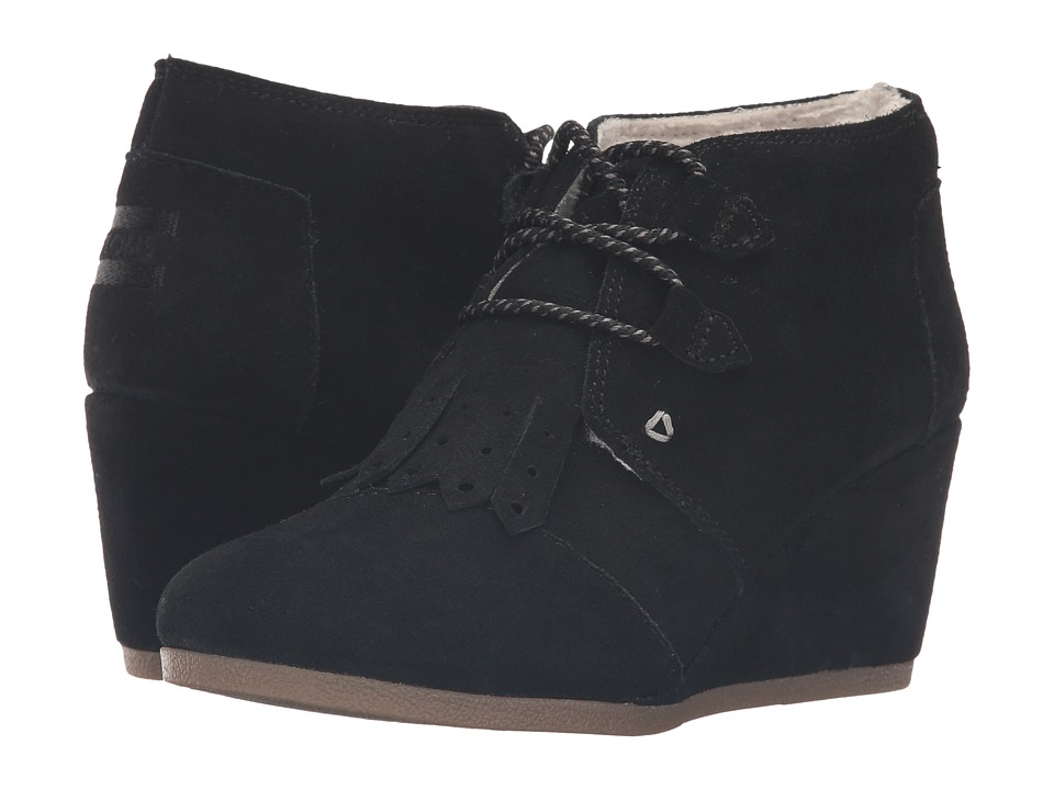 TOMS Desert Wedge (Black Suede/Kiltie/Shearling) Women