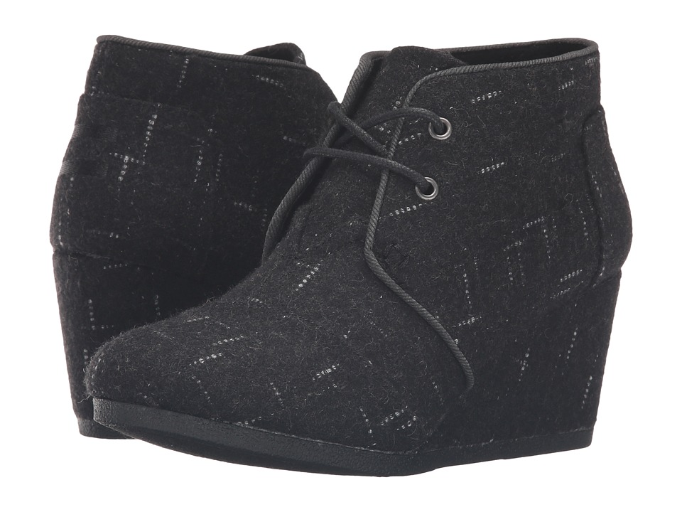 TOMS Desert Wedge Black Dotted Wool Womens Wedge Shoes