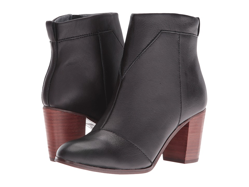 TOMS Lunata Bootie (Black Leather) Women