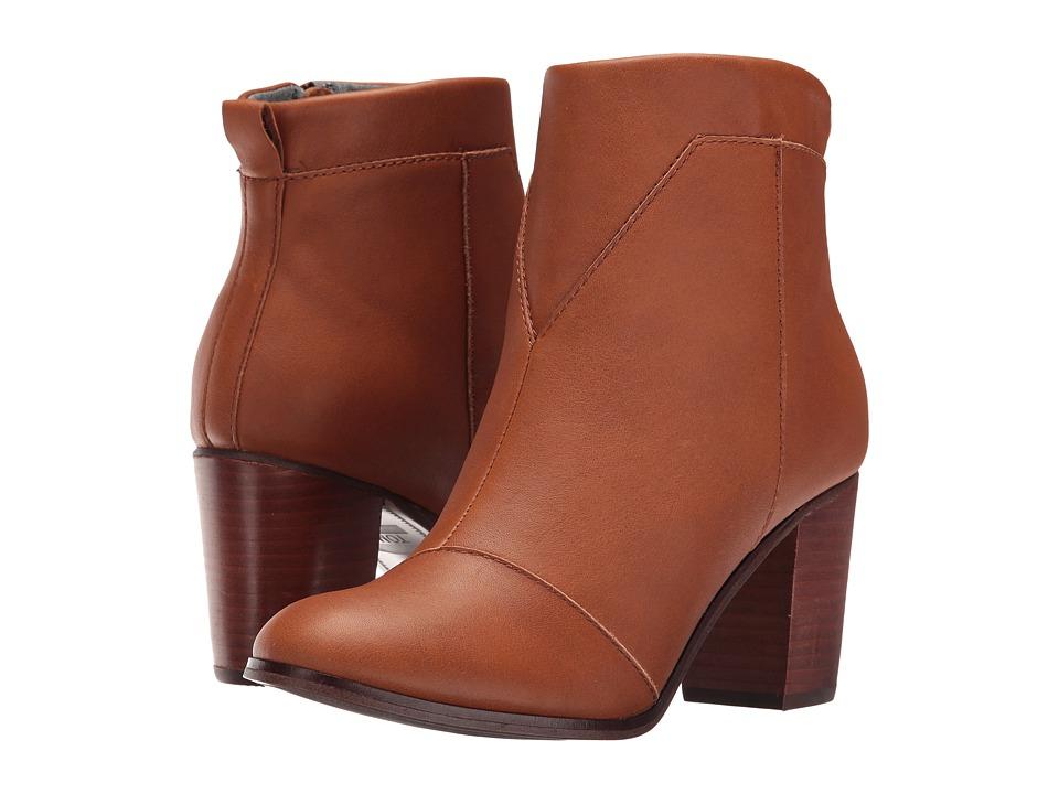 TOMS - Lunata Bootie (Warm Tan Leather) Women's Zip Boots
