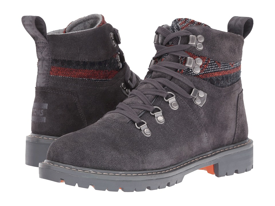 TOMS Summit Boot Forged Iron Grey Suede-Tribal Textile Womens Hiking Boots