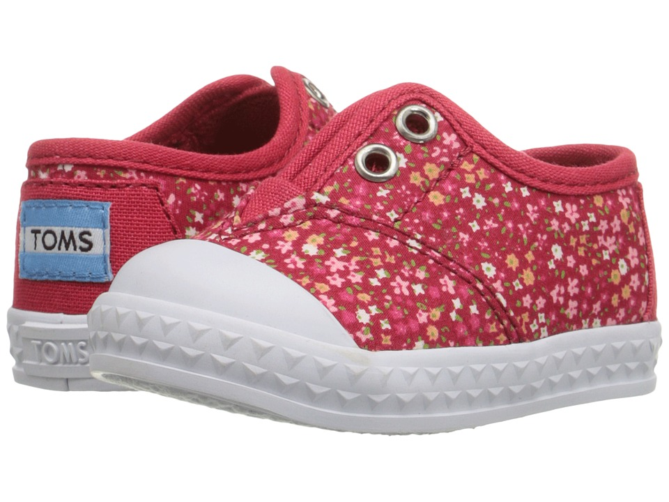TOMS Kids - Zuma Sneaker (Infant/Toddler/Little Kid) (Red Canvas Ditsy Floral) Girls Shoes