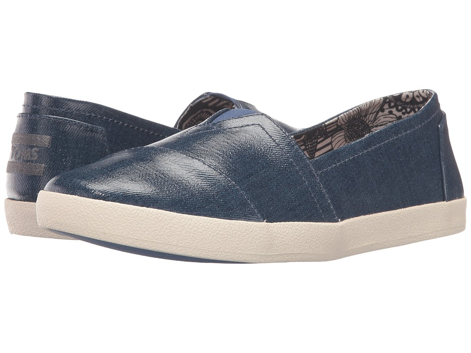 TOMS - Avalon Slip-On (Blue Denim Patent Linen) Women's Slip on Shoes