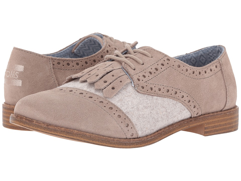 TOMS - Brogue Dress Lace-Up (Desert Taupe Suede/Wool Kiltie) Women's Lace Up Cap Toe Shoes