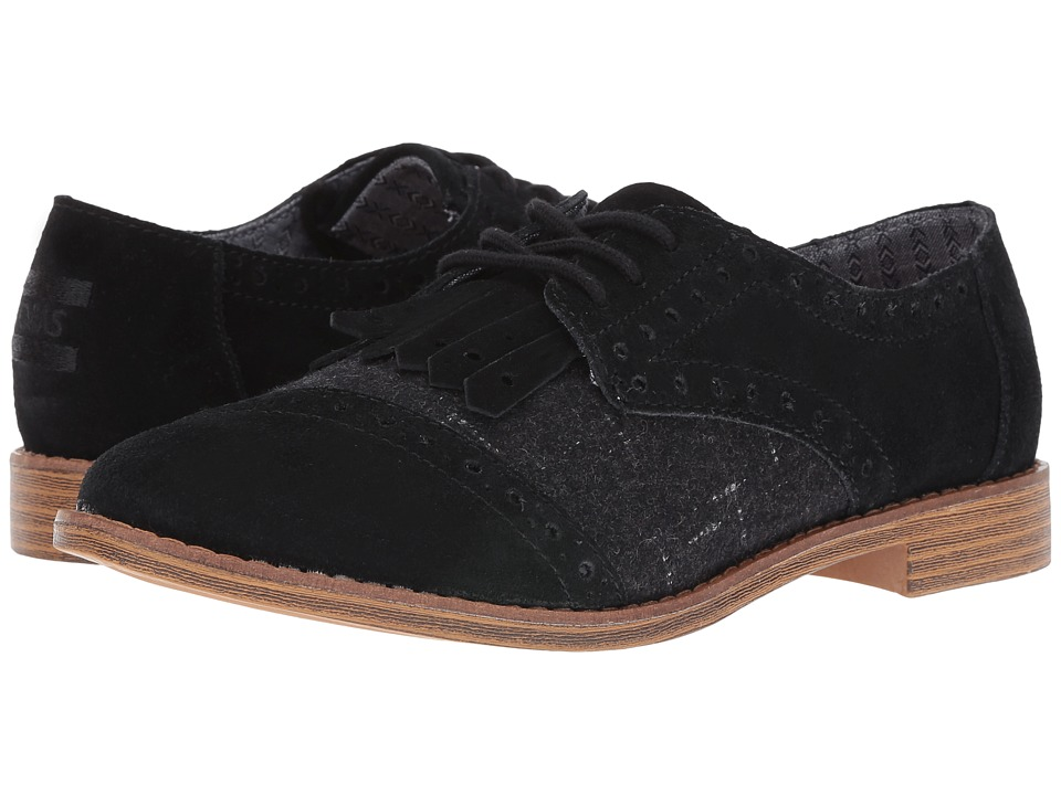TOMS - Brogue Dress Lace-Up (Black Suede/Wool Kiltie) Women's Lace Up Cap Toe Shoes