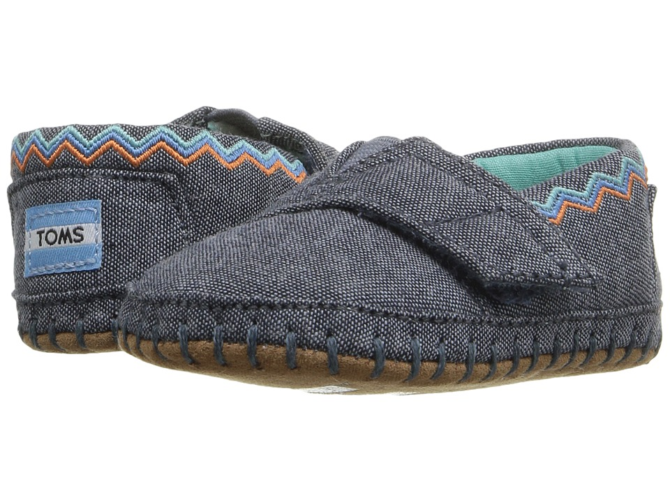 TOMS Kids Alpargata Layette (Infant/Toddler) (Blue Chambray/Embroidery) Girls Shoes