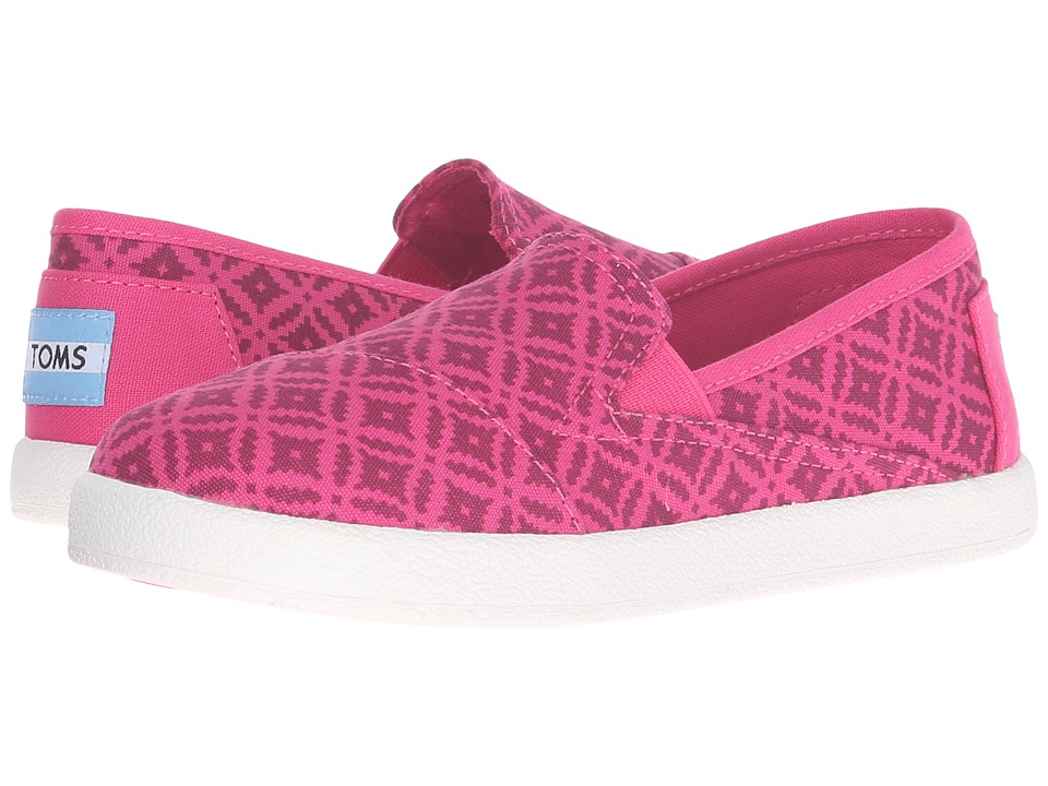 TOMS Kids - Avalon Slip-On (Little Kid/Big Kid) (Pink Canvas Geo Diamond) Girls Shoes
