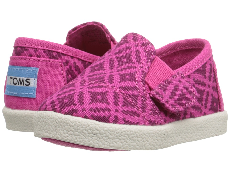 TOMS Kids - Avalon Slip-On (Infant/Toddler/Little Kid) (Pink Canvas Geo Diamond) Girls Shoes