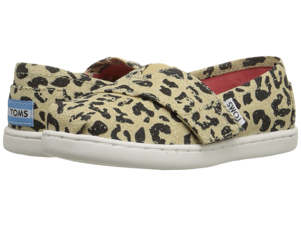 TOMS Kids - Seasonal Classics (Infant/Toddler/Little Kid) (Cheetah Metallic Linen) Girls Shoes