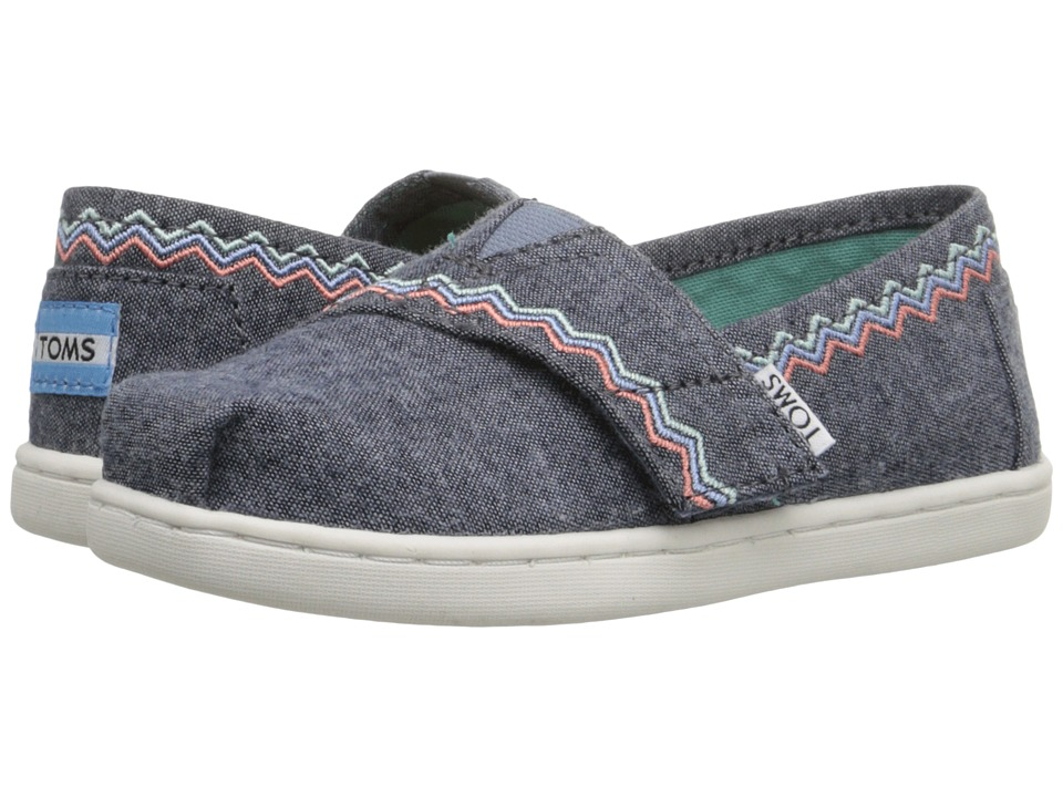 TOMS Kids - Seasonal Classics (Infant/Toddler/Little Kid) (Blue Chambray/Embroidery) Girls Shoes
