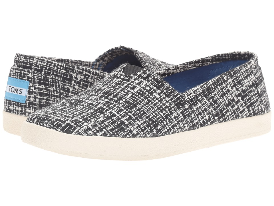 TOMS - Avalon Slip-On (Black/White Boucle) Women's Slip on Shoes