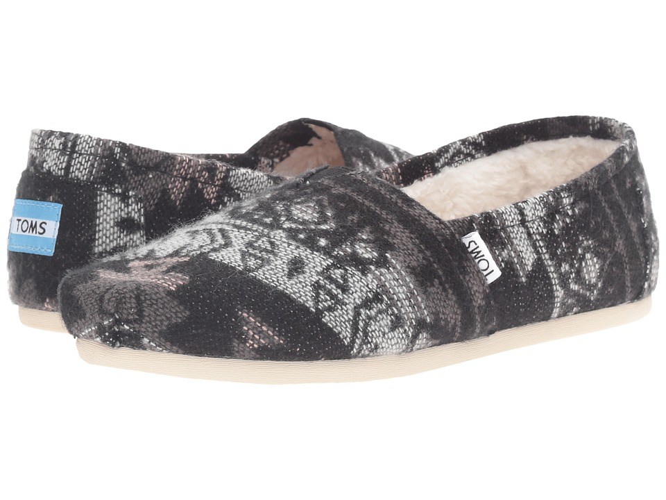 TOMS - Seasonal Classics (Grey Tribal Wool/Shearling) Women's Slip on Shoes