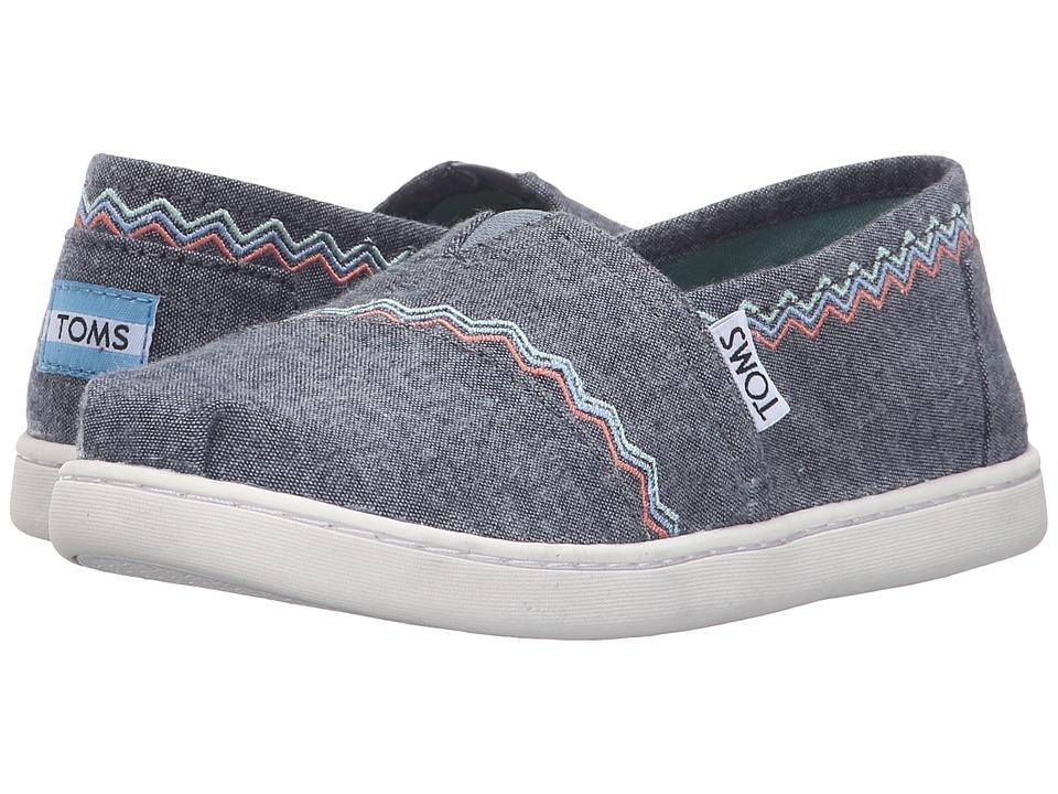 TOMS Kids - Seasonal Classics (Little Kid/Big Kid) (Blue Chambray/Embroidery) Girls Shoes
