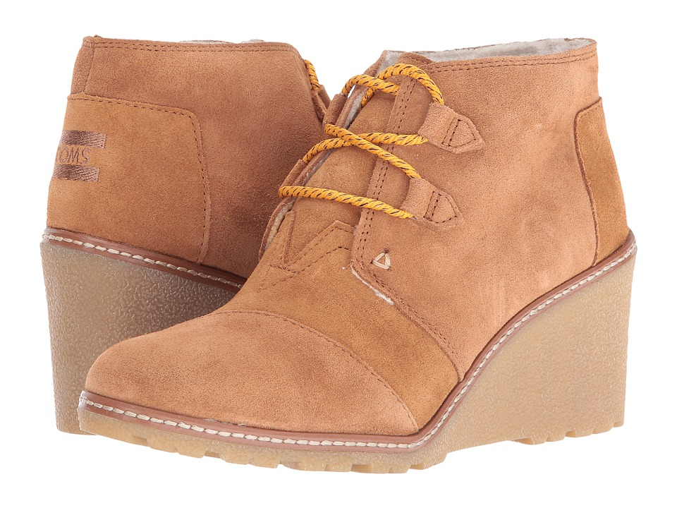 TOMS - Desert Wedge (Wheat Suede/Shearling/Faux Crepe Wedge) Women's Wedge Shoes