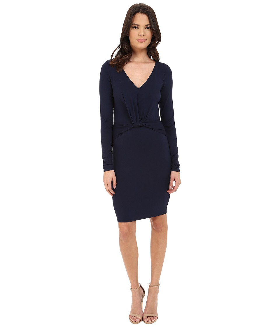 Three Dots - Elfie Long Sleeve V-Neck Dress (Night Iris) Women's Dress