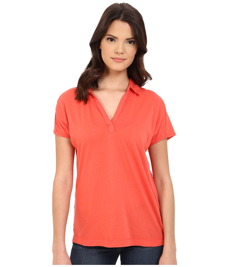 Three Dots - Cap Sleeve Polo (Poppy Coral) Women's Short Sleeve Pullover