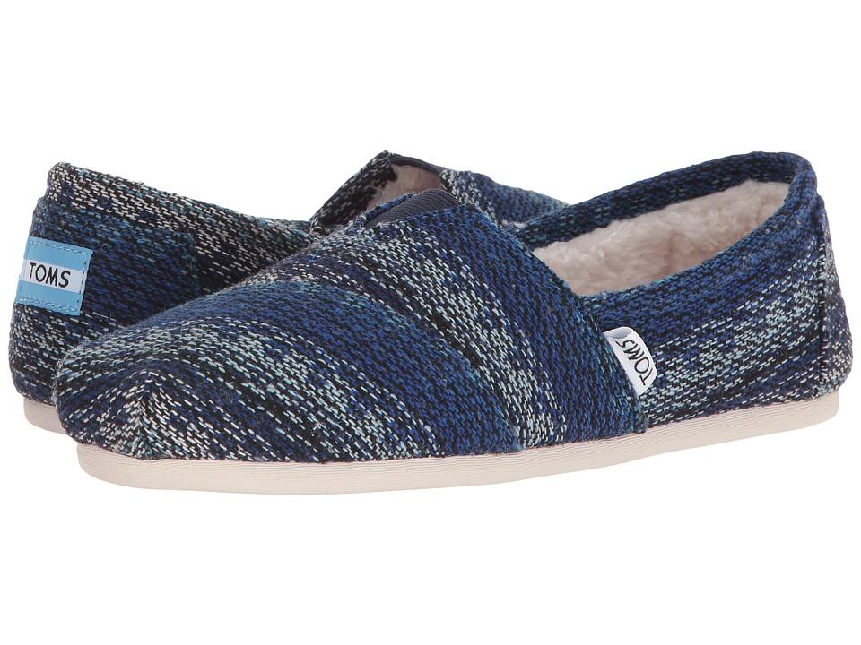 TOMS Seasonal Classics Blue Multi Stripe Woven-Shearling Womens Slip on  Shoes