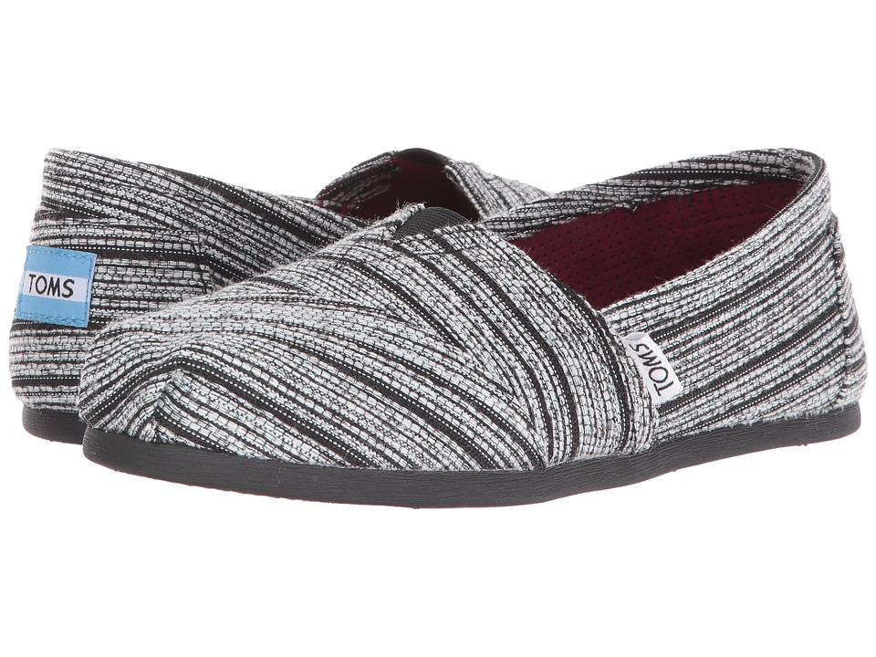TOMS Seasonal Classics Silver Metallic Stripe Womens Slip on  Shoes