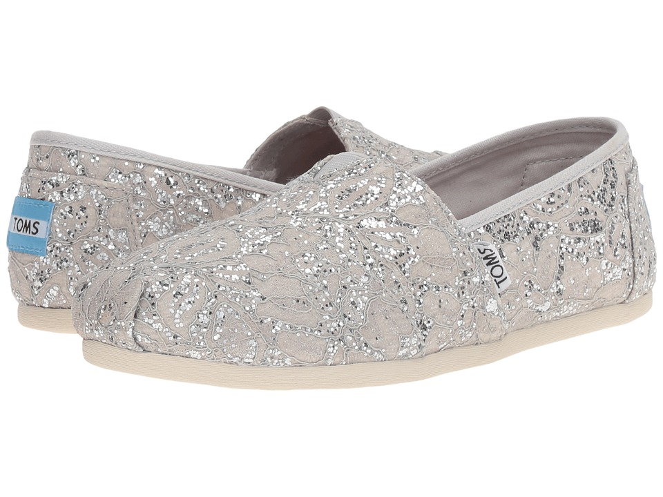 TOMS - Seasonal Classics (Silver Lace Glitz) Women's Slip on Shoes