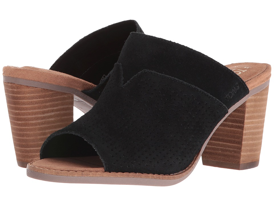 TOMS - Majorca Mule Sandal (Black Suede Perforated) Women's Clog/Mule Shoes