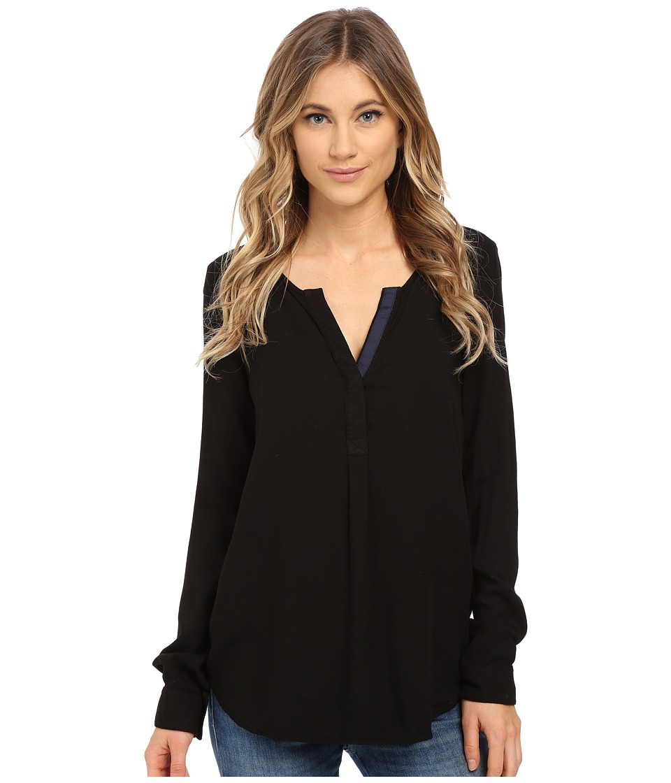 Three Dots - Sonia Contrast Henley (Black) Women's Clothing