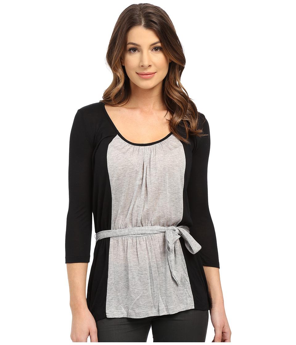 Three Dots - Lauren 3/4 Sleeve Belted Blouse (Black/Granite) Women's Blouse