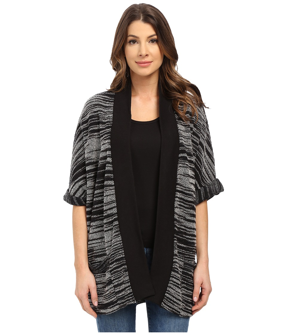 Three Dots - Janet Rolled Sleeve Cardigan (Black Multi) Women's Sweater