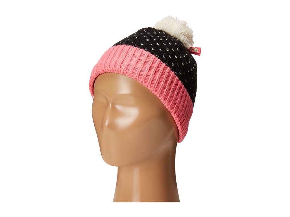 The North Face Kids - Pom Pom Beanie (Big Kids) (TNF Black/Cha Cha Pink) Beanies