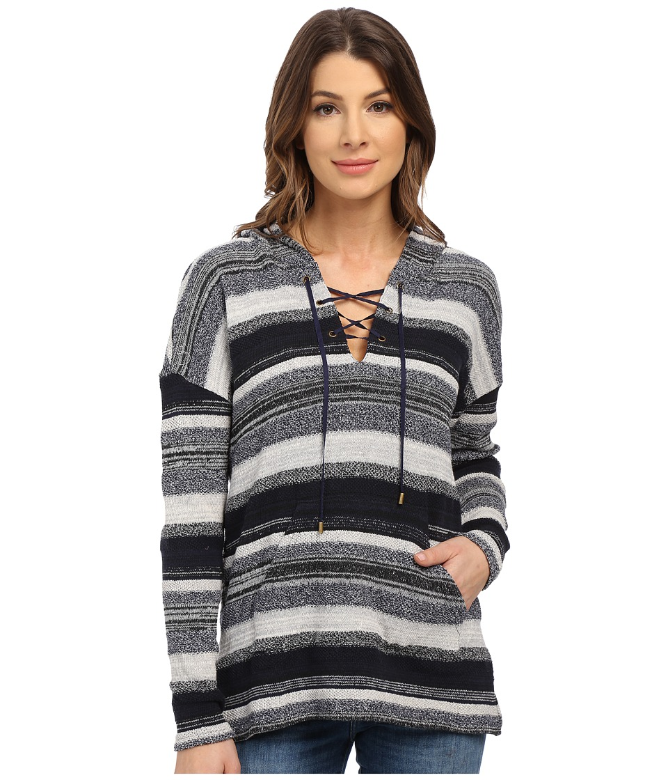 Three Dots - Becca Lace Front Long Sleeve Hoodie (Night Iris) Women's Sweatshirt