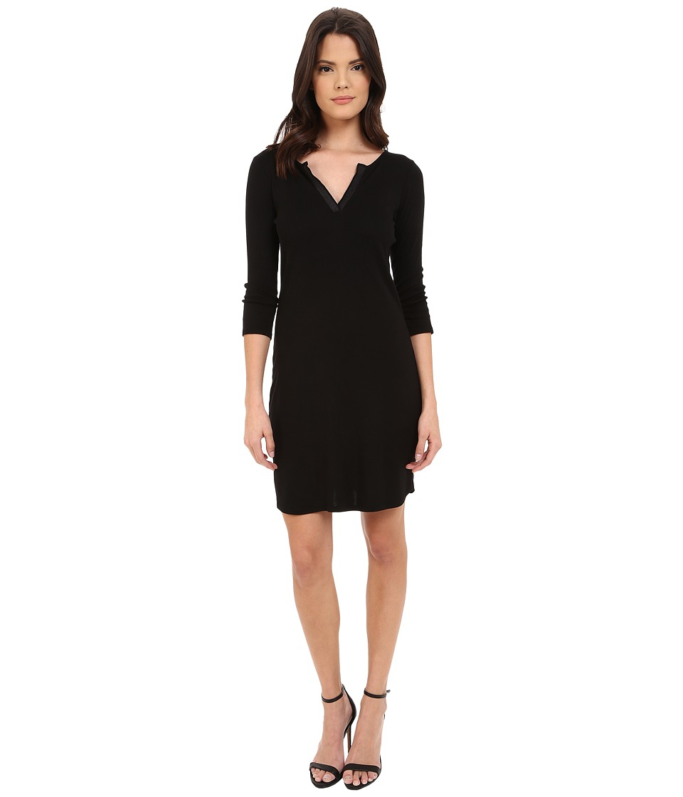 Three Dots - Charlotte Rib Tipped 3/4 Sleeve Dress (Black) Women's Dress