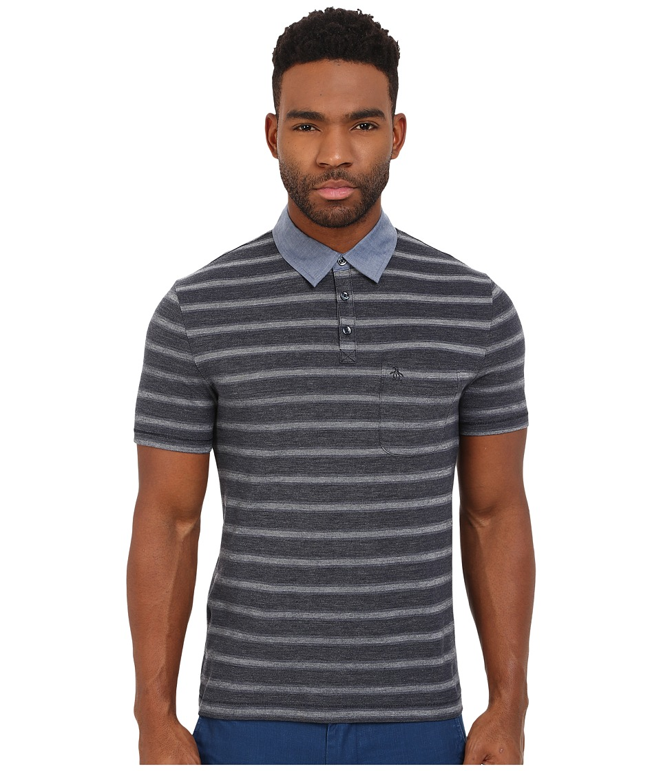 Original Penguin - Birdseye Pique Polo w/ Chambray Collar (Dark Sapphire) Men's Short Sleeve Knit