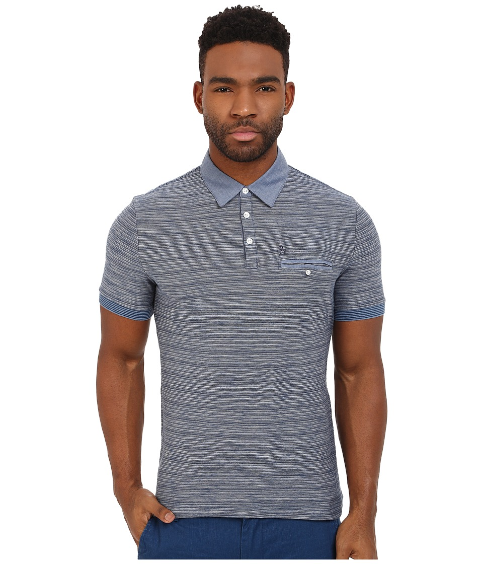 Original Penguin - Feeder Stripe Polo w/ Chambray Collar (Dark Denim) Men's Short Sleeve Knit
