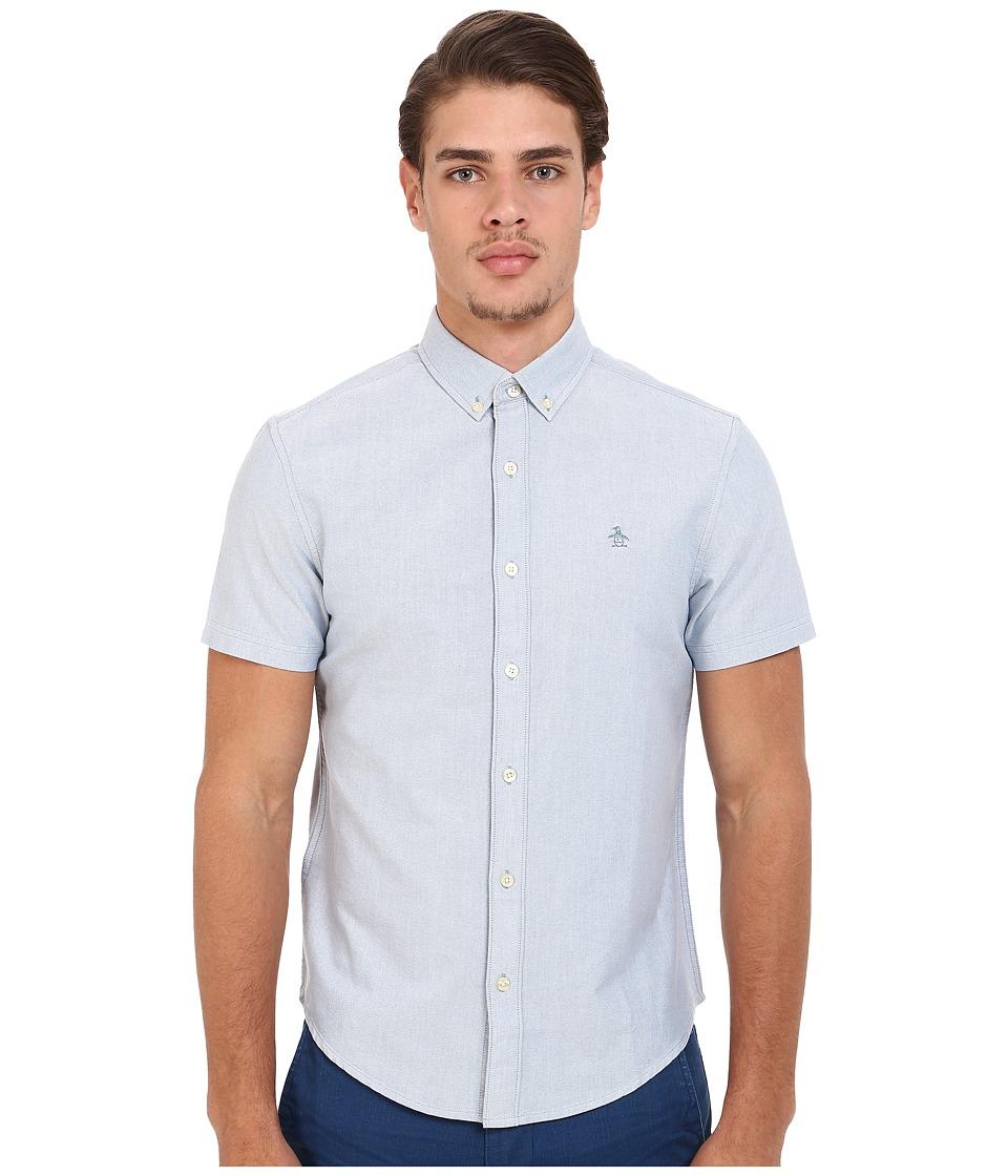 Original Penguin - Short Sleeve Core Oxford (Captains Blue) Men's Short Sleeve Button Up