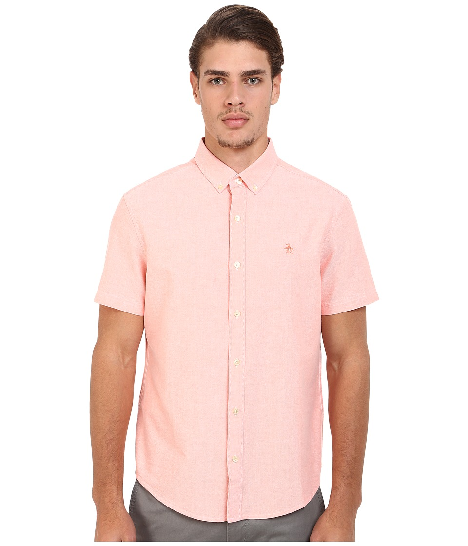Original Penguin - Short Sleeve Core Oxford (Fusion Coral) Men's Short Sleeve Button Up