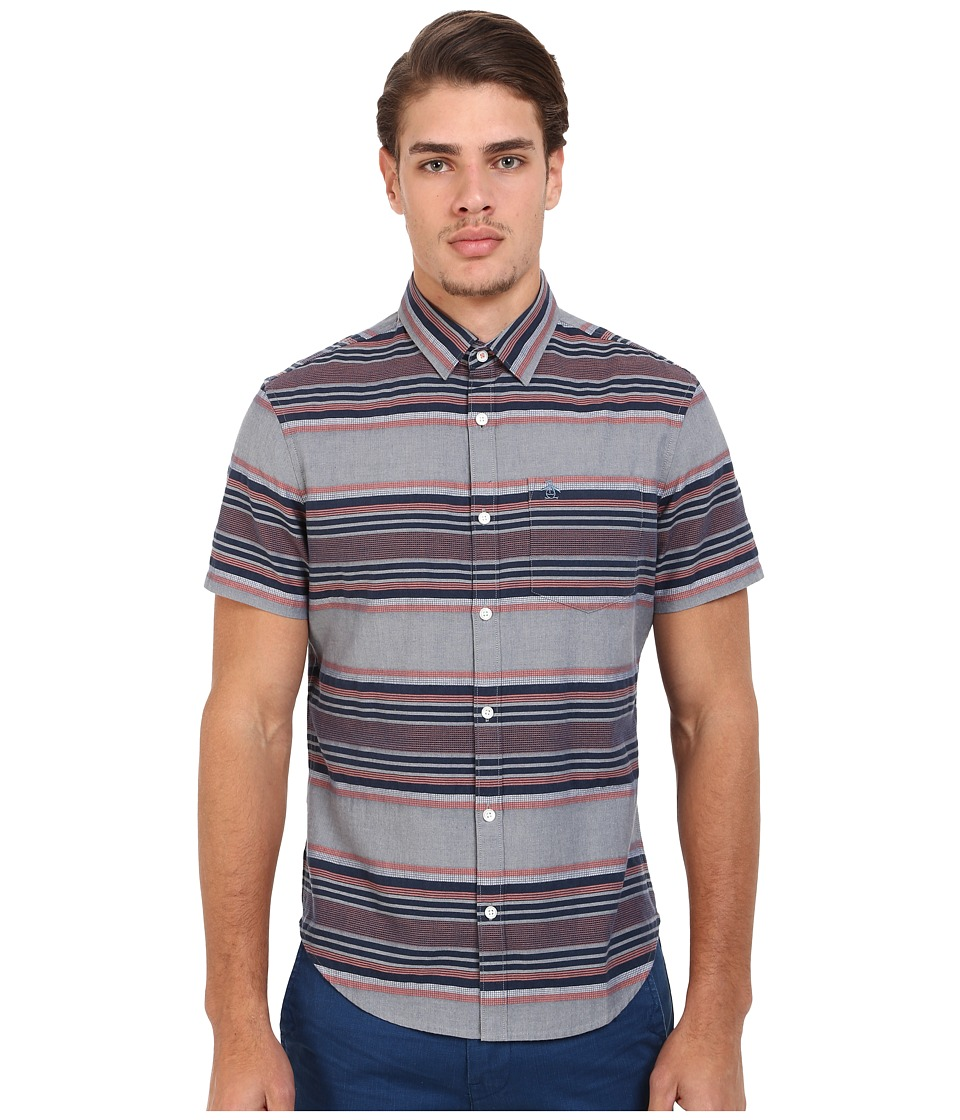 Original Penguin - Short Sleeve Engineered Dobby Stripe Woven (Dark Denim) Men's Short Sleeve Button Up