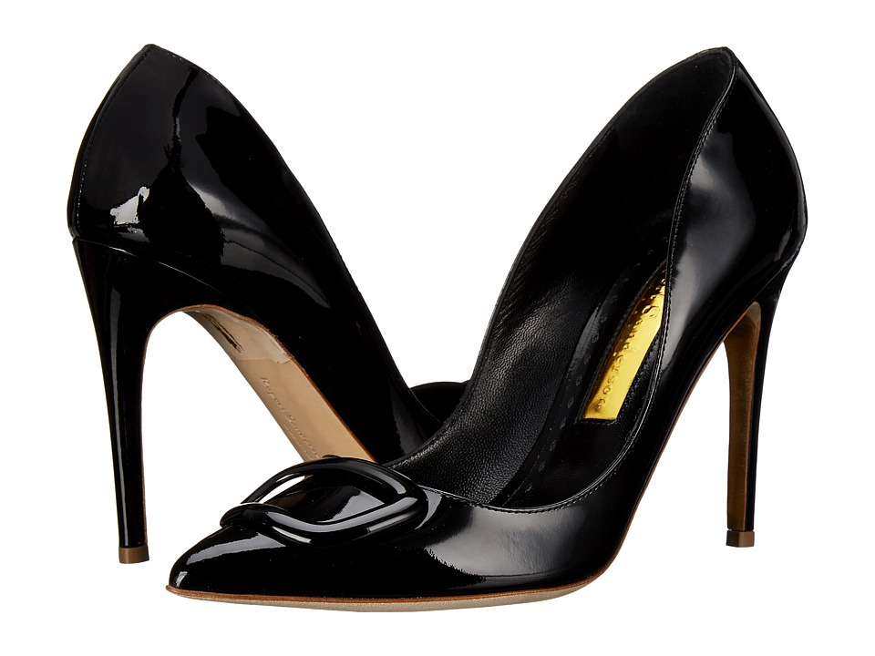 Rupert Sanderson - Pebble Buckle Pump (Black Patent) Women's 1-2 inch heel Shoes