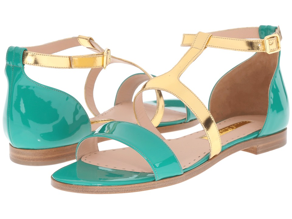Rupert Sanderson - Alva Color Block Flat Sandals (Green Meadow Patent/Gold Specchio) Women's Sandals