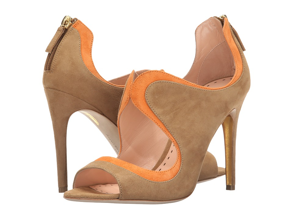 Rupert Sanderson Cut Out Wave Bootie (Clay Suede/Ochre Suede) High Heels